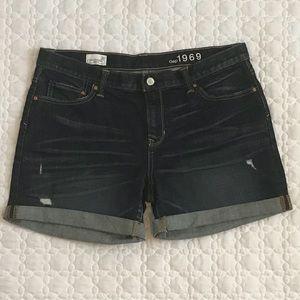 Gap Boyfriend Dark Wash Rolled Cuff Shorts